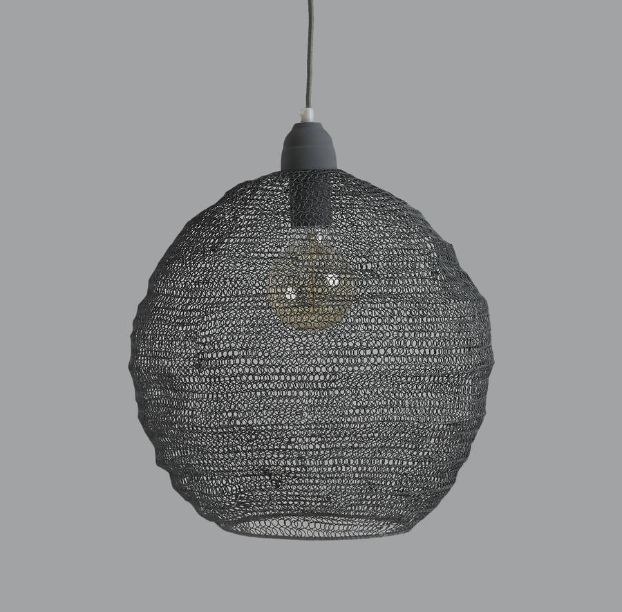 Nina Wire Pendant Lights In Four Colours. Grey