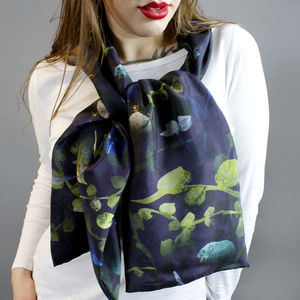 Forest Undergrowth Animals Long Silk Scarf