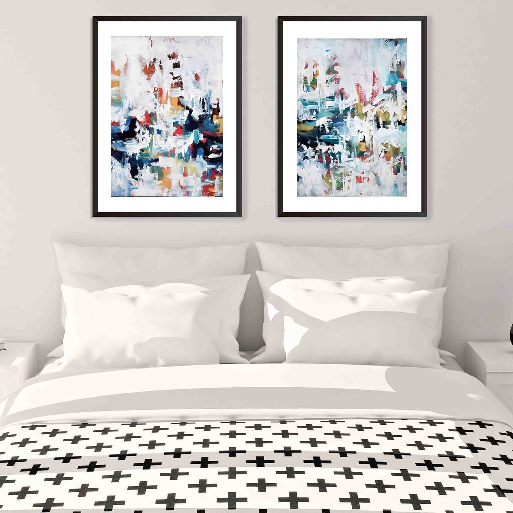 modern abstract art blue framed art prints set of two by abstract ...