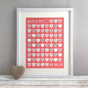 Hearts Personalised Wedding Guest Book Print