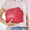 Personal Message Leather Clutch Bag