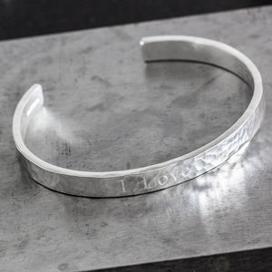 Personalised Sterling Silver Hammered Engraved Cuff