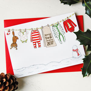 Personalised Baby's First Christmas Card - favourites