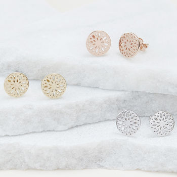 Dahlia Flower Stud Earrings For Positivity