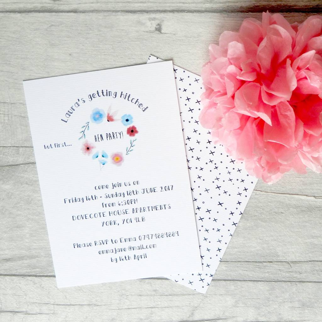 floral hen party invitation by paper pocket | notonthehighstreet.com