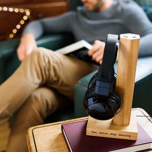 Personalised Solid Oak Headphone Stand - gifts for teenagers