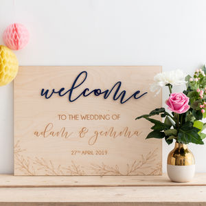 Personalised Welcome To The Wedding Of Sign - room signs