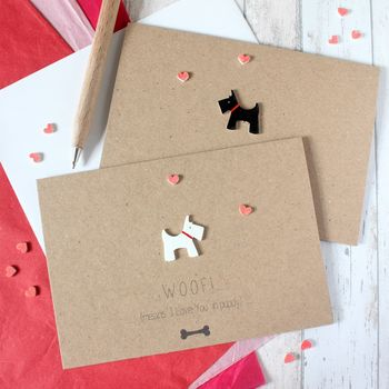 Woof Means I Love You In Puppy, Dog Anniversary Card