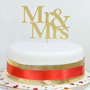 Mr And Mrs Wedding Or Anniversary Glitter Cake Topper - cake toppers & decorations