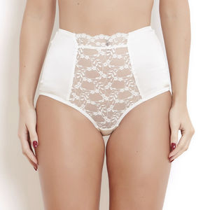 Ivory Silk And French Lace Sophia High Waist Brief