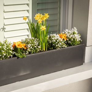 Large Window Box Planter In Amalfi Black