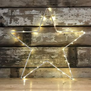 Distressed Metal Star Or Heart With Fairy Lights