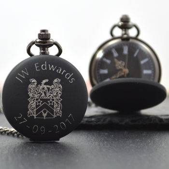 Engraved Family Crest Pocket Watch
