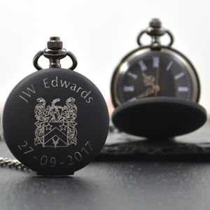 Engraved Family Crest Pocket Watch - watches