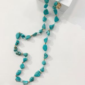 Bcharmd Long Turquoise Chunky Bead Necklace