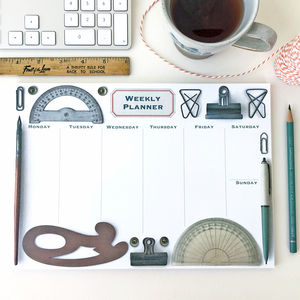 Vintage Office Weekly Desk Planner And Notes Set