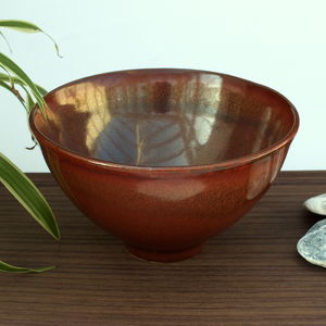 Handmade Chestnut Brown Stoneware Bowl