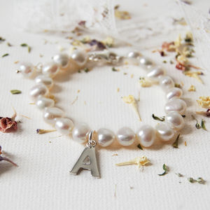 Personalised Girl's Pearl Bracelet with Initial