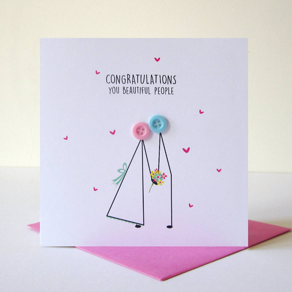 Wedding Congratulations Button Card By Mrs L Cards
