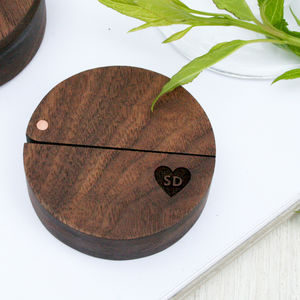 Personalised Walnut Wood And Copper Engraved Ring Box - keepsake boxes
