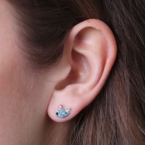 Dainty Sterling Silver Diamante Whale Stud Earrings - children's jewellery