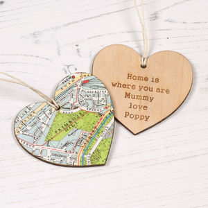 Personalised Map Location Heart Keepsake Gift For Her - home accessories