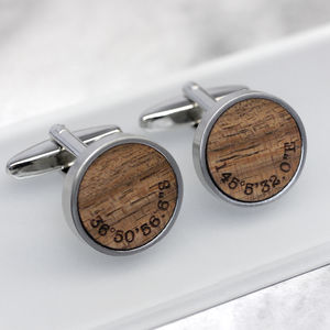 Personalised Walnut Wood Coordinate Cufflinks