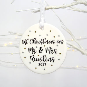 1st Married Christmas Metallic Spot Tree Decoration