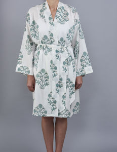 Samode Floral Cluster Design Bathrobe In Soft Teal