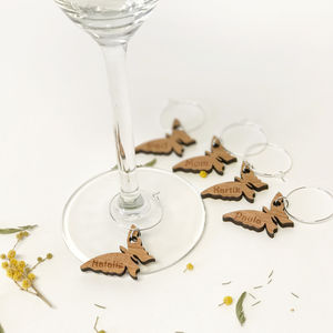 Five Personalised Butterfly Wine Glass Charms
