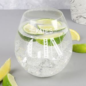 Personalised 'Gin' Glass Tumbler - home sale