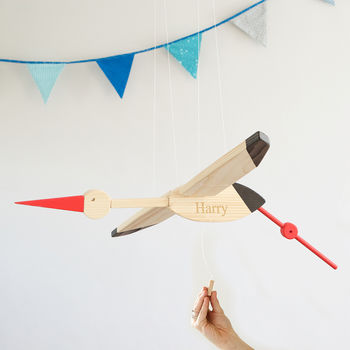Personalised Painted Wooden Stork Mobile