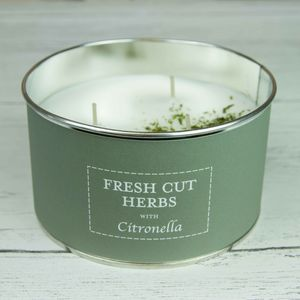 Fresh Cut Herbs Citronella Three Wick Candle