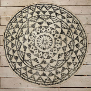 Geometric Print Round Bath Mat - bathroom