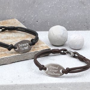 Men's Personalised Leather Oval Identity Bracelet