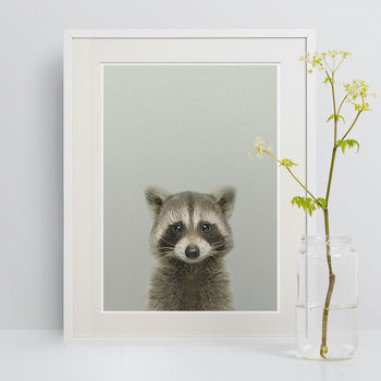 Nursery Decor Raccoon Peekaboo Animal Print