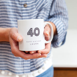 40th Birthday Mug With Personalised Name - 40th birthday gifts