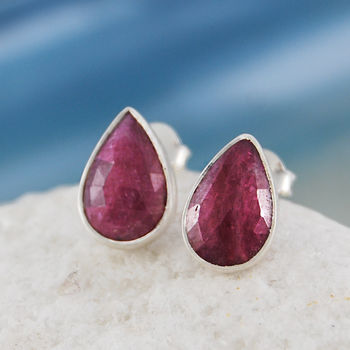 Silver Ruby Gemstone Stud Earrings