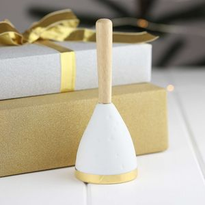 Handheld Porcelain And Gold Christmas Bell