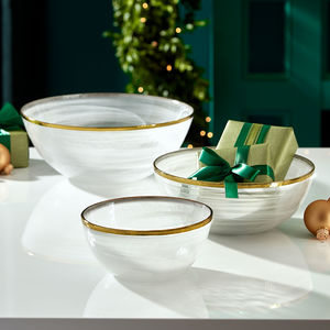 Round Glass Gold Rim Bowls - fruit bowls