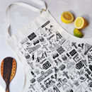 Wales Illustrated Black And White Cotton Apron