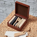 Personalised Leather Box With Shoe Care Kit