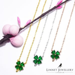 Green Clover Cz Necklace 925 Silver Yellow Rose