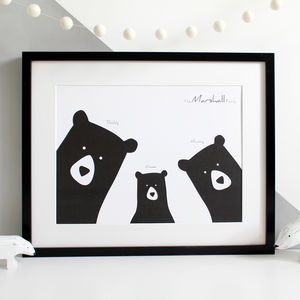 Personalised Bear Family Selfie Portrait Print - winter sale