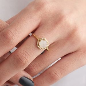 Hexagon Moonstone And Diamond Ring - rings