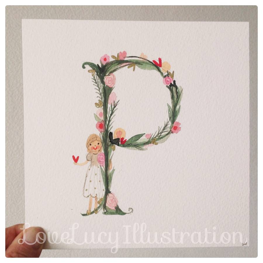 girl s floral initial painting by love lucy illustration