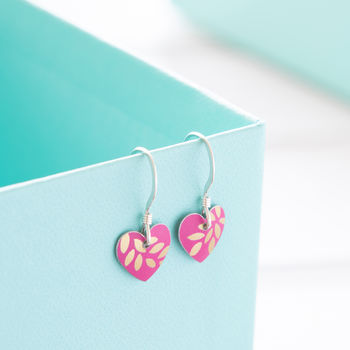Fuchsia Pink And Gold Leaf Print Small Heart Earrings