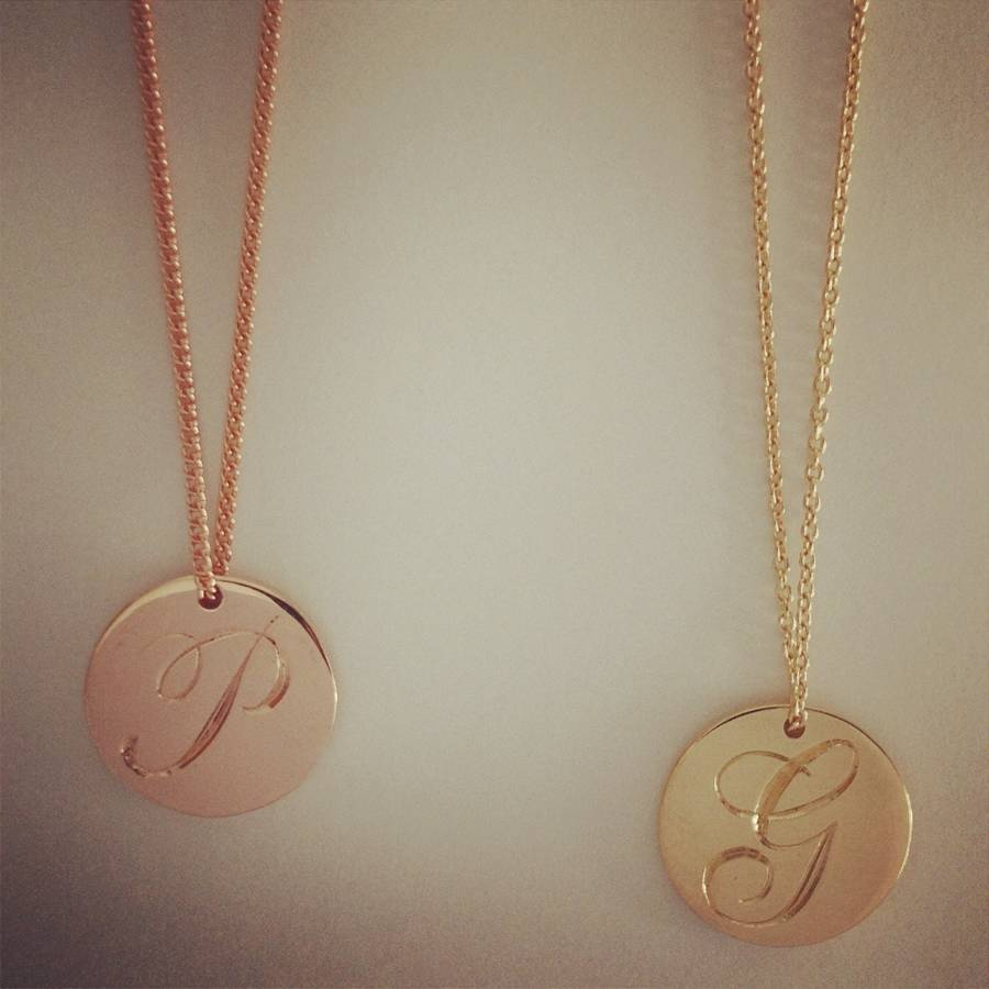 Medium double sided solid gold disc initial necklace by lindsay medium double sided solid gold disc initial necklace mozeypictures Choice Image