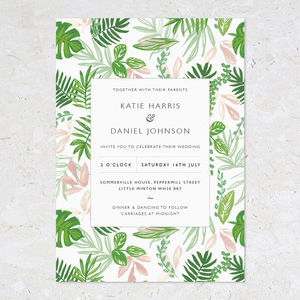 Greenery Wedding Invitations, Patterned