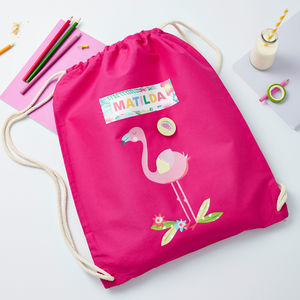 Girls Personalised Flamingo Bag